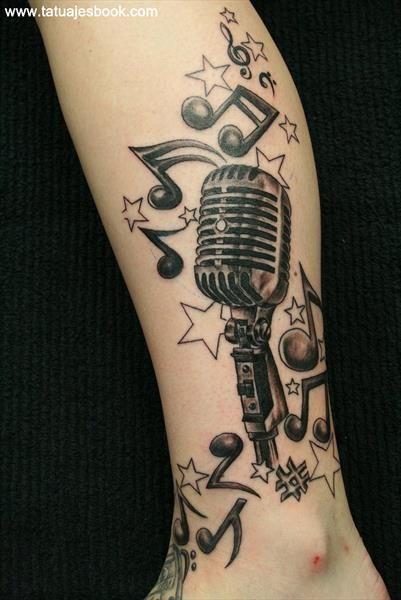 35 diseños de tatuajes de micrófonos | Tatuajes Book