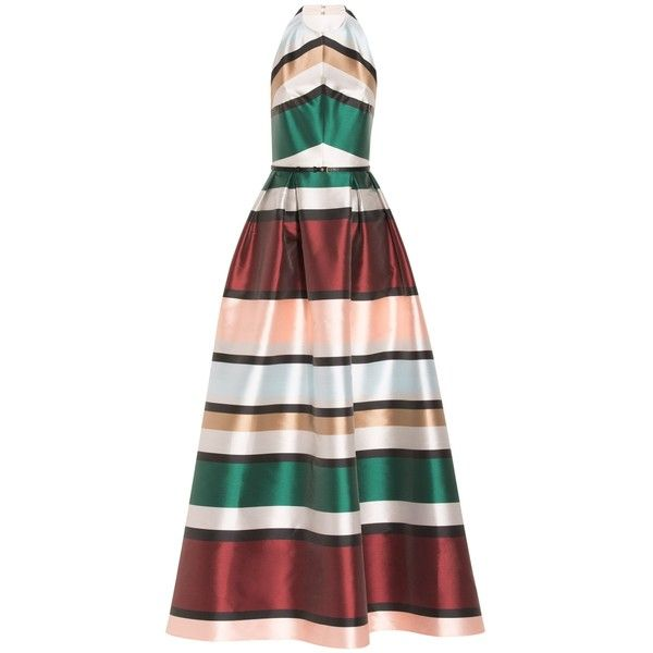 Elie Saab Striped Ball Gown (2452985 IQD) ❤ liked on Polyvore featuring dresses, gowns, halter-neck tops, halter evening dress, open back gown, stripe dresses and striped dress