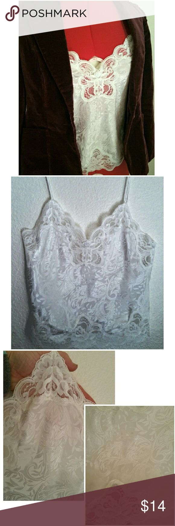 "Vtg. White Camisole Lingerie w/Lace Trim Lovely, shiny, white on white jacquard fabric, with wide lace trim top and bottom.  Looks great under a blazer to wear it  for daytime! Wear as a top, sleepware, or leisure wear. Vintage Deena camisole, tagged a size PETITE/32, 100% polyester. 17"" armpit to armpit; 12"" long, from underarm to bottom. Vintage Intimates & Sleepwear Chemises & Slips"