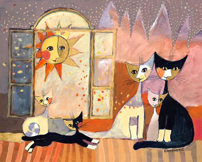 Cats by Rosina Wachtmeister. I have this one in my living room.