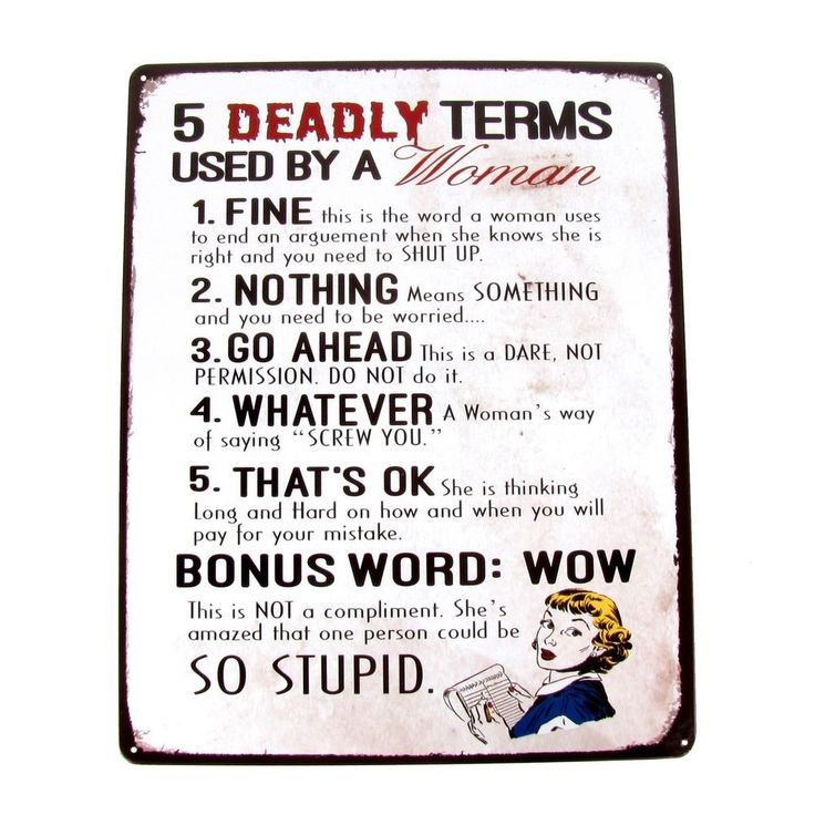 5 Deadly Terms Woman Use Funny Warning Sign Garage/Shop/Bar/Pub/Home Wall Decor #Unbranded