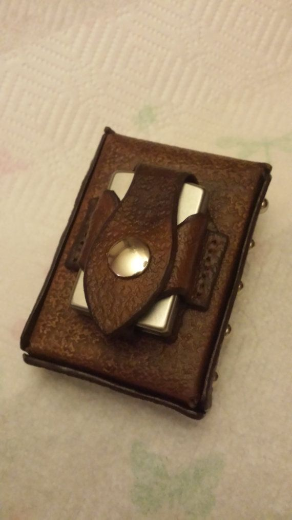 ZIPPO Lighter and Custom Leather Cigarette by TwoSticksLeather, $42.99