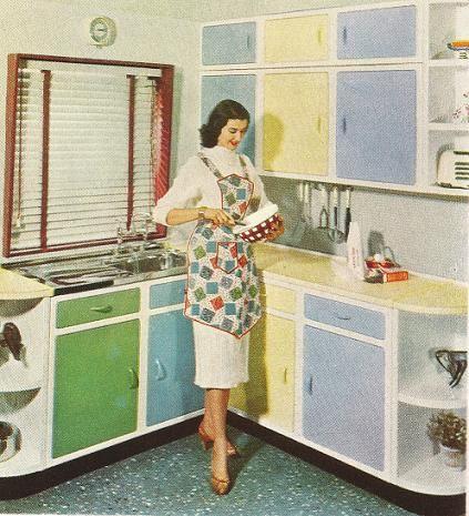 1950's kitchen multi-coloured kitchen cabinets