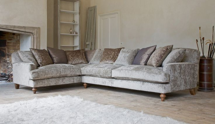 flooring c olour? Galloway Corner Sofa in Traviata Mink with scatter cushions in Marenna & Orison