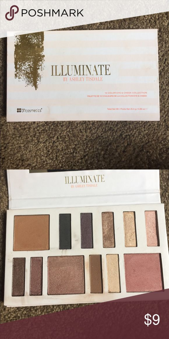 BH Cosmetics Illuminate by Ashley Tisdale palette Night Goddess palette. It has been swatched, still has plastic slip with eyeshadow names. Authentic product BH Cosmetics Makeup Eyeshadow