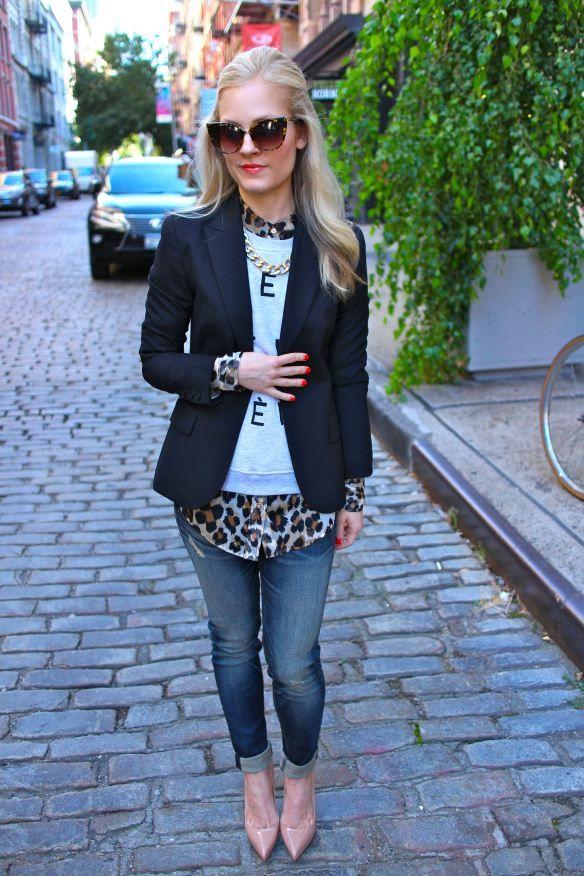 black blazer, sweater, leopard blouse, jeans, nude pumps
