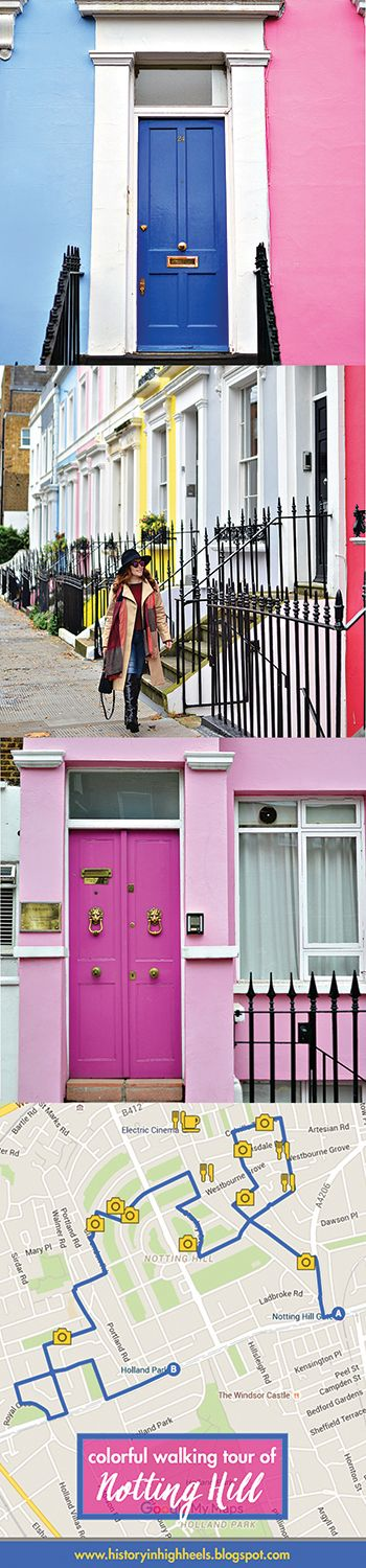 History In High Heels: A Colorful Tour of Notting Hill  Walking tour of Notting Hill with downloadable map that highlights the neighborhoods most colorful homes, great places to eat/drink, and best little gardens.