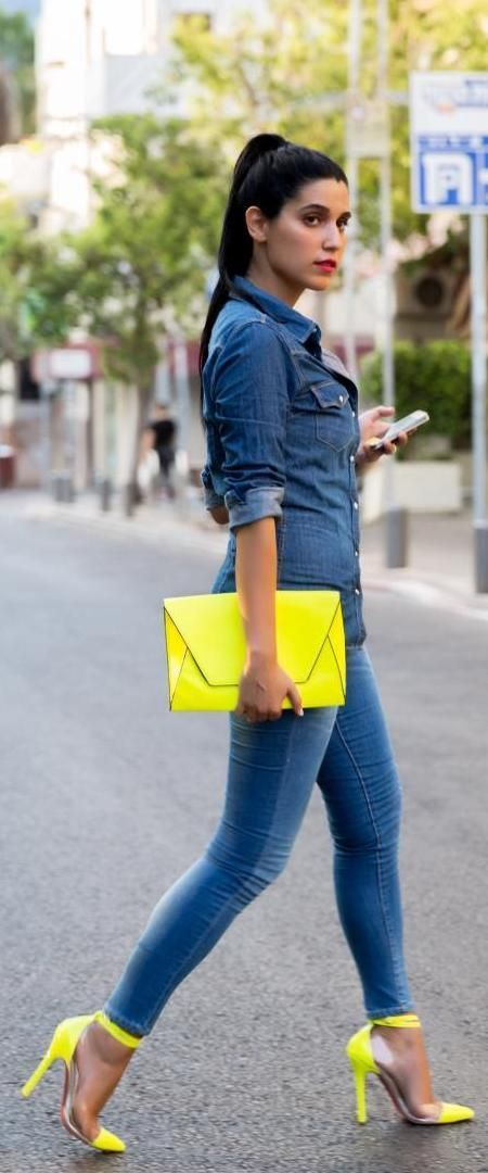Latest fashion trends: Fashion trends | Denim on denim with yellow neon clutch and heels
