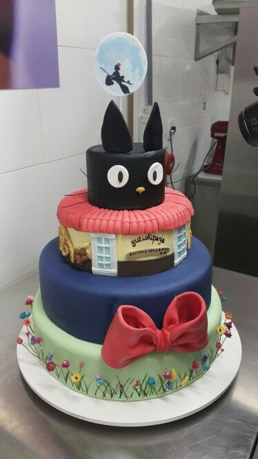 Kiki's Delivery Service inspired four tier cake.  #kikisdeliveryservice #hayaomiyazaki #studioghibli