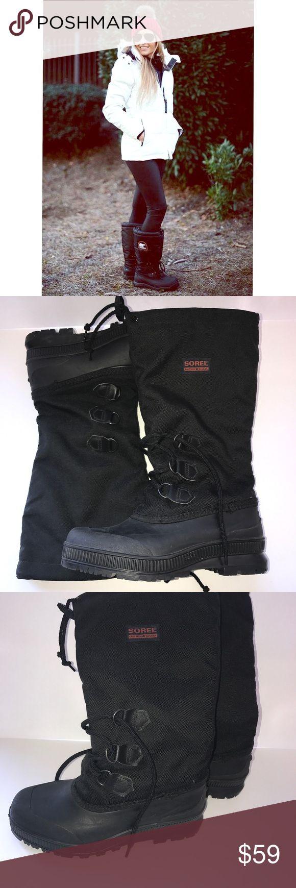 Sorel Snowlion BootsBlack Size 9 NWOT Water proof, weatherproof, heavy rubber tread, lace up with drawstring leg Sorel Shoes Winter & Rain Boots