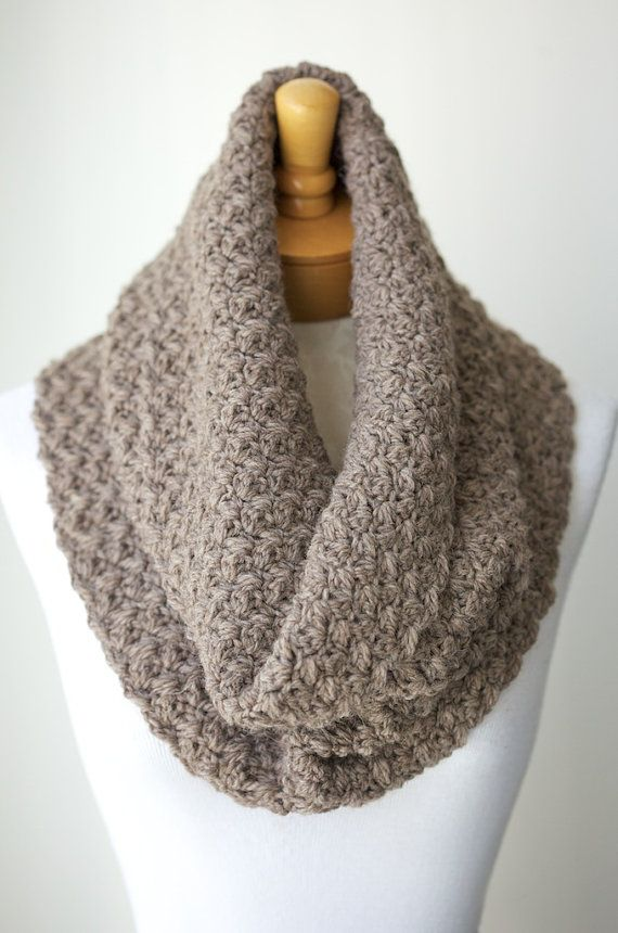 Crochet cowl in Light Taupe color, Peruvian Wool Infinity Scarf, Crochet Infinity Cowl, Loop Scarf - Natural and Undyed
