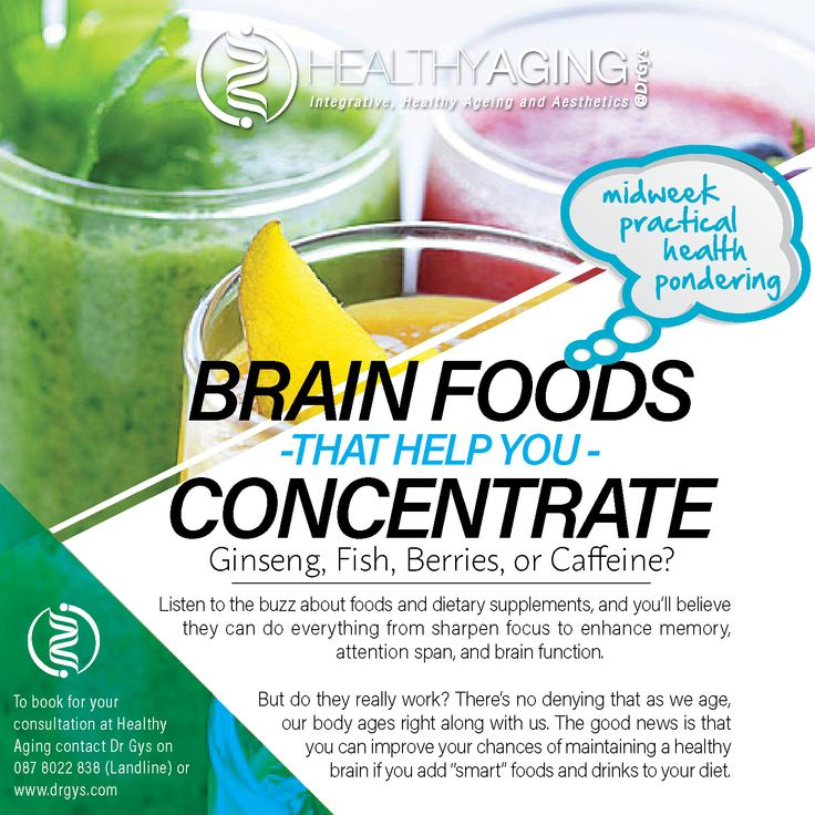 """Brain Foods That Help You Concentrate Ginseng, Fish, Berries, or Caffeine? Listen to the buzz about foods and dietary supplements, and you'll believe they can do everything from sharpen focus to enhance memory, attention span, and brain function. But do they really work? There's no denying that as we age, our body ages right along with us. The good news is that you can improve your chances of maintaining a healthy brain if you add """"smart"""" foods and drinks to your diet."""" For more information…"""