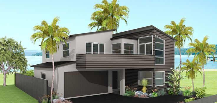 This split-level design is developed to make the most of sloping sites.  The living spaces are on the highest level to get the best views and sun and the master bedroom is privately tucked away for peace and quiet.  The Clutha is designed to maximise the floor space available while at the same time separating the living and sleeping areas.