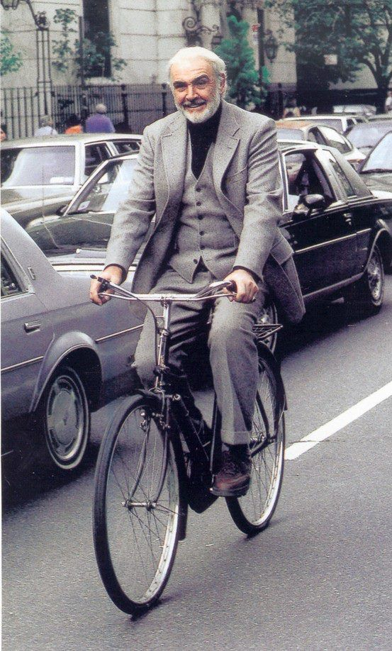 The first Bond, James Bond a.k.a. Sir Sean Connery riding an original Raleigh DL-1.