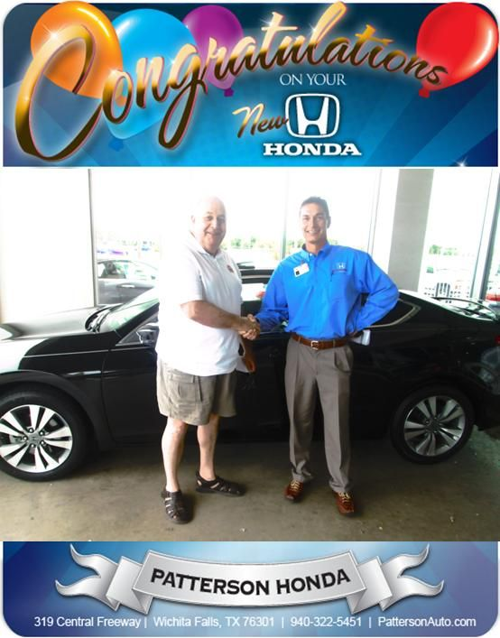 Mr. Mark Spector and his new Certified Pre-Owned Honda!! Came all the way from Scottsdale Arizona to do business with Patterson's. And what a pleasure it was working with this gentleman!! Congrats to him and his wife!!! - From Brent Robbins at Patterson Honda