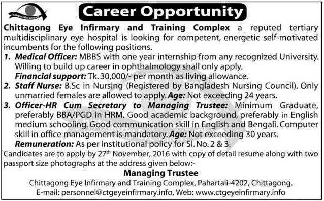 Chittagong Eye Infirmary and Training Complex Job Circular