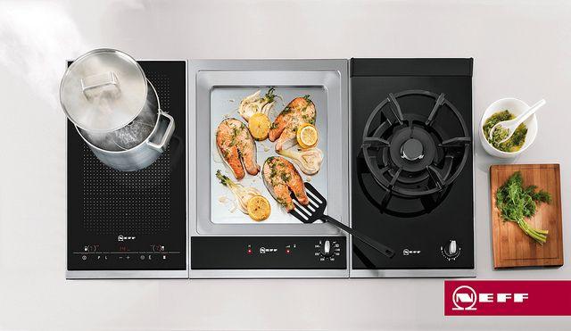 Con Neff puedes tener a la vez todos los sistemas de cocción. Puedes combinar las diferentes placas modulares dominó: gas, inducción, Flexinducción, Grill barbacoa y Teppan Yaki, para que no tengas que decantarte por sólo un sistema de cocción