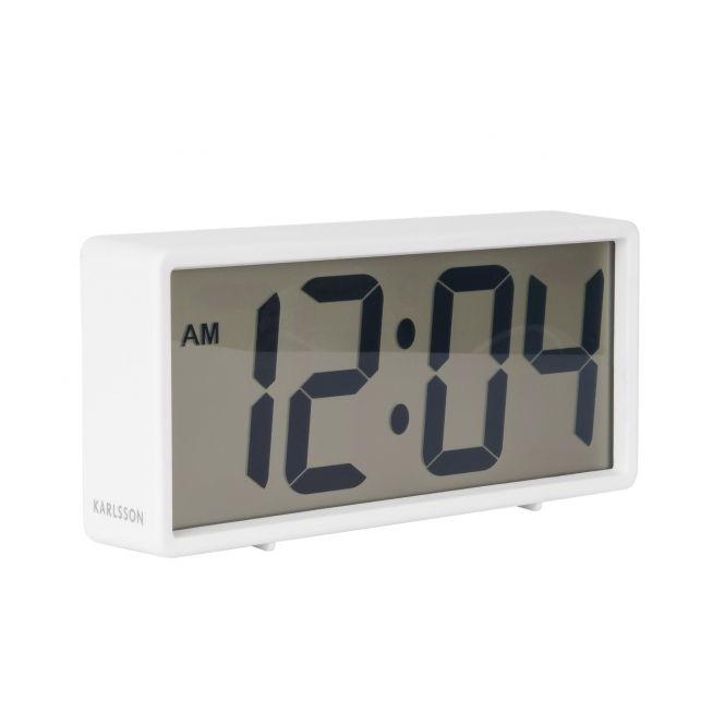 Karlsson Coy Digital Rubberised Alarm Clock White Alarm Clock White Digital Clock Clock