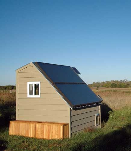 This Sunward solar hot water kit is a proven system. You can mount the collectors on the roof or on a ground-based frame.