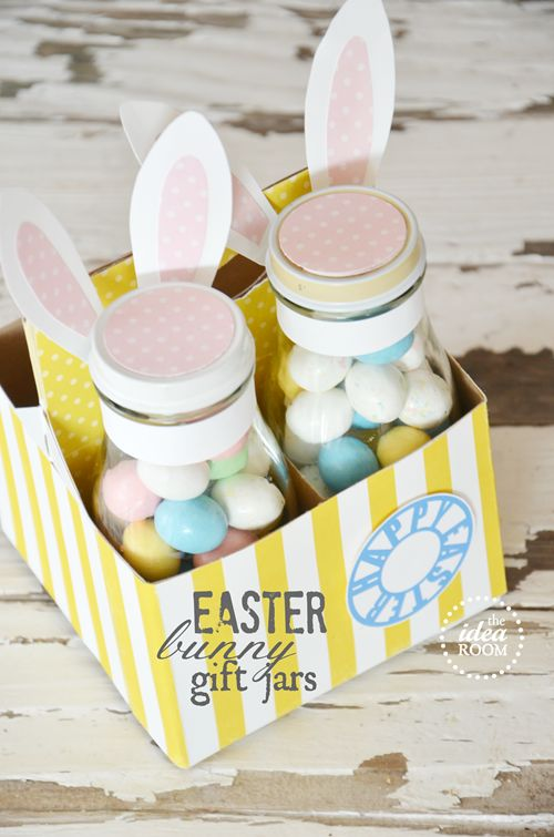 Easter bunny gift jars and labels ..cute!