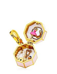 """MUSIC BOX CHARM $58.00 STYLE NUMBER: YJRU7598   Add to wish listADD TO BAG Special Offer Winter Sale: 40% Off Full-Price DESCRIPTION Music truly makes the world go 'round. Like your music box when you were little, our charm features a prima ballerina and a pearlized chain. Juicy logo on lobster clasp. 1.75"""" L x 1.04"""" W x 0.98"""" H Imported Cz/Brass/Glass"""