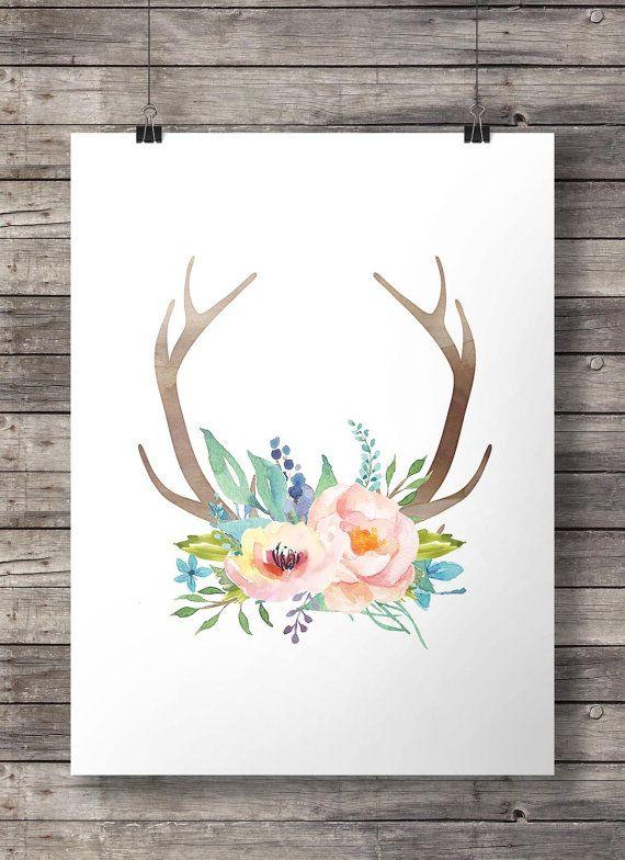 Watercolor Antlers and flowers print  - Printable Antlers coral and blue watercolor flowers wall art - digital print