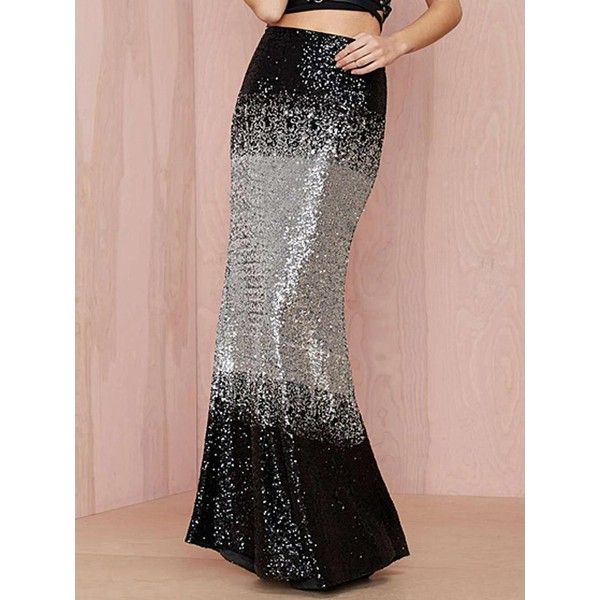 Black Faded Sequins Maxi Fishtail Skirt ($51) ❤ liked on Polyvore featuring skirts, maxi length skirts, fishtail skirt, long fishtail skirt, sequin skirts and fish tail skirt