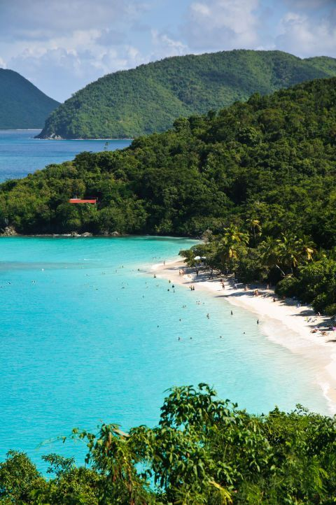 One of the U.S. Virgin Islands' finest white sand beaches, Maho Bay is also a great place to go swimming with sea turtles.