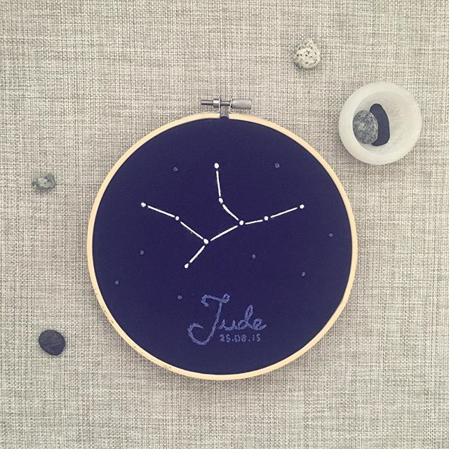 💙✨For Jude✨💙 This little constellation now has a new home #virgo #handmade #embroidery #hoopart #firstbirthday #kidsroom #embroiderydesign #handdrawntype #celestial #stars #augustbaby #constellation #astronomy #patternsinthesky