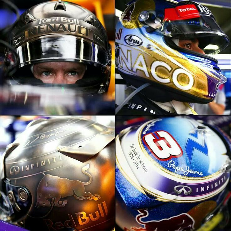 Sebastian Vettel and Daniel Ricciardo's lid designs for the 2014 Monaco Grand Prix. Lookin' good Seb, all I can say is wow!