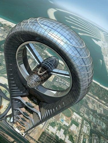 Massive Wind Turbine Building - Anara Tower, Dubai