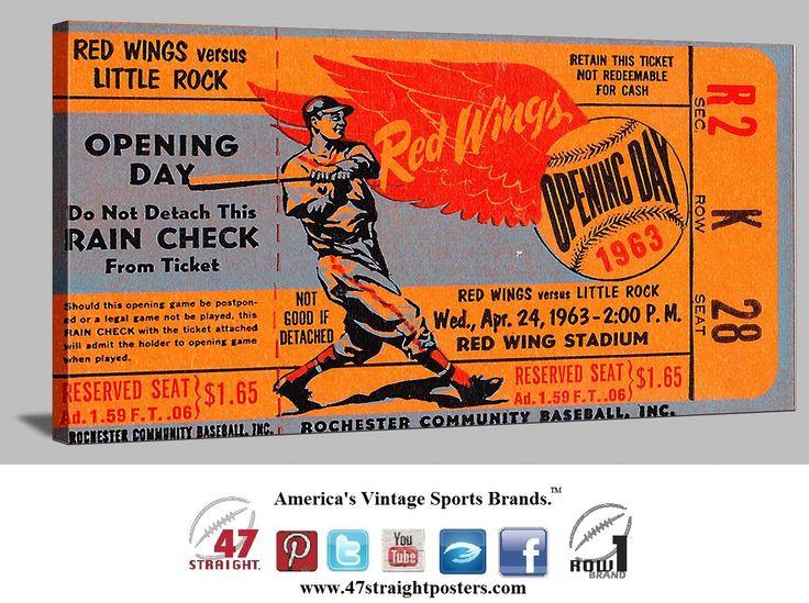 Vintage sports art. Vintage baseball ticket stub art on canvas. 1963 Rochester Red Wings baseball ticket art. #NewYork #Rochester #RedWings #baseball #vintage #sports #art #mancave #gameroom https://twitter.com/47_Straight Follow us on Twitter! #47straight
