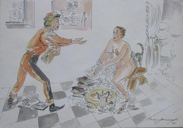 Maja BEREZOWSKA ,Scena rodzajowa , akwarela, papier, 22,5 x 32