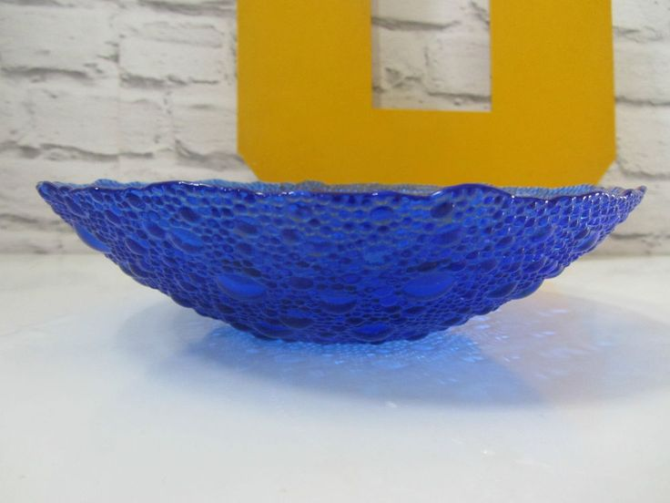 Mid century Pavel Panek pressed glass cobalt bubble dish bowl blue sklo union  | eBay