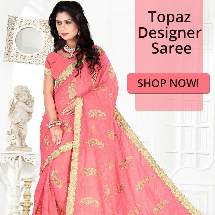 Get styled like a Desi Diva. Buy topaz designer saree in peach colour.