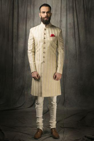 Mens stylish wedding achkan in Delhi Contact us : 09350301018 http://puneetandnidhi.com/achkan-concepts/