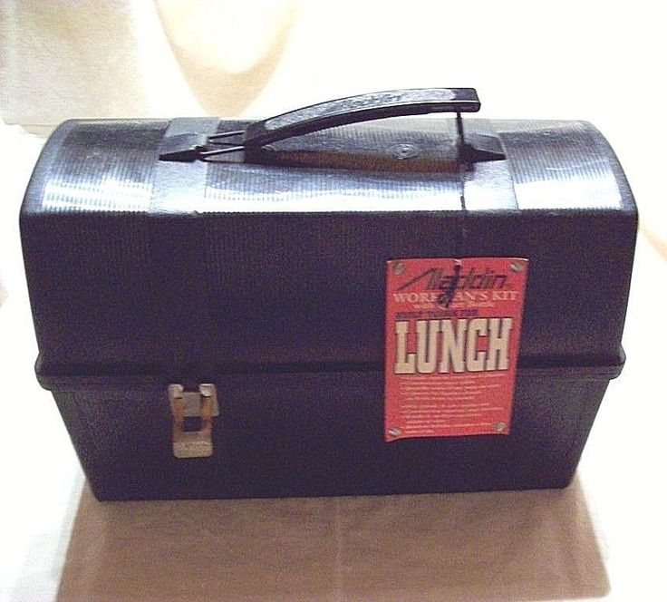 Vintage NEW Black Plastic ALADDIN Lunch Box with Thermos in plastic  NWT   #ALADDIN #vintage #work #lunch #90s #construction #coal #timber #men #eBay #auction
