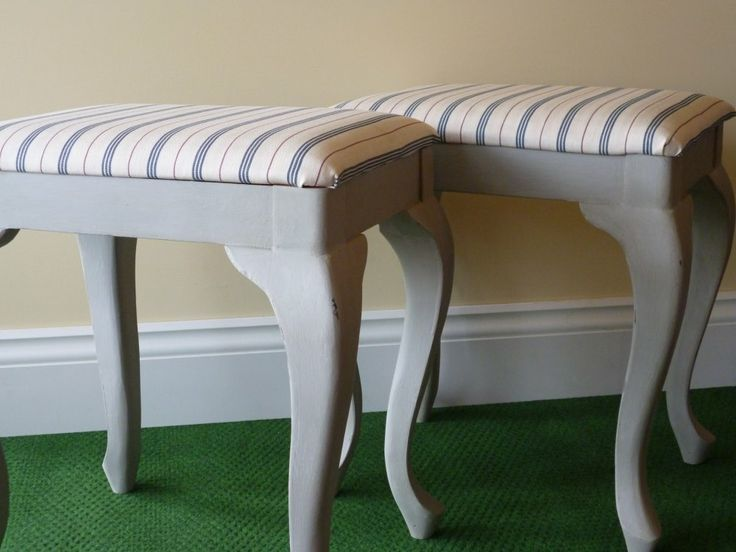 A bespoke order - 2 dressing table stools in Annie Sloan Paris Grey with red/blue ticking fabric. More info on https://www.facebook.com/Retroville