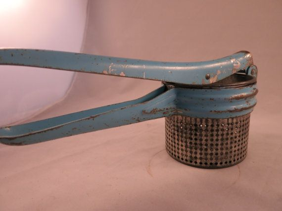 Vintage Ricer Blue Chippy Potato Ricer Farmhouse by WrensAttic
