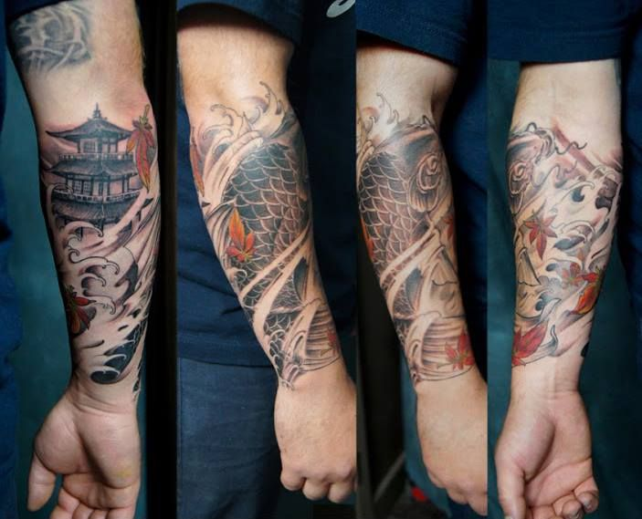 Chronic Ink Tattoo - Toronto Tattoo. Forearm half sleeve tattoo done by Marilyn, consisting of a Koi fish, pagoda and Japanese maple leaves.