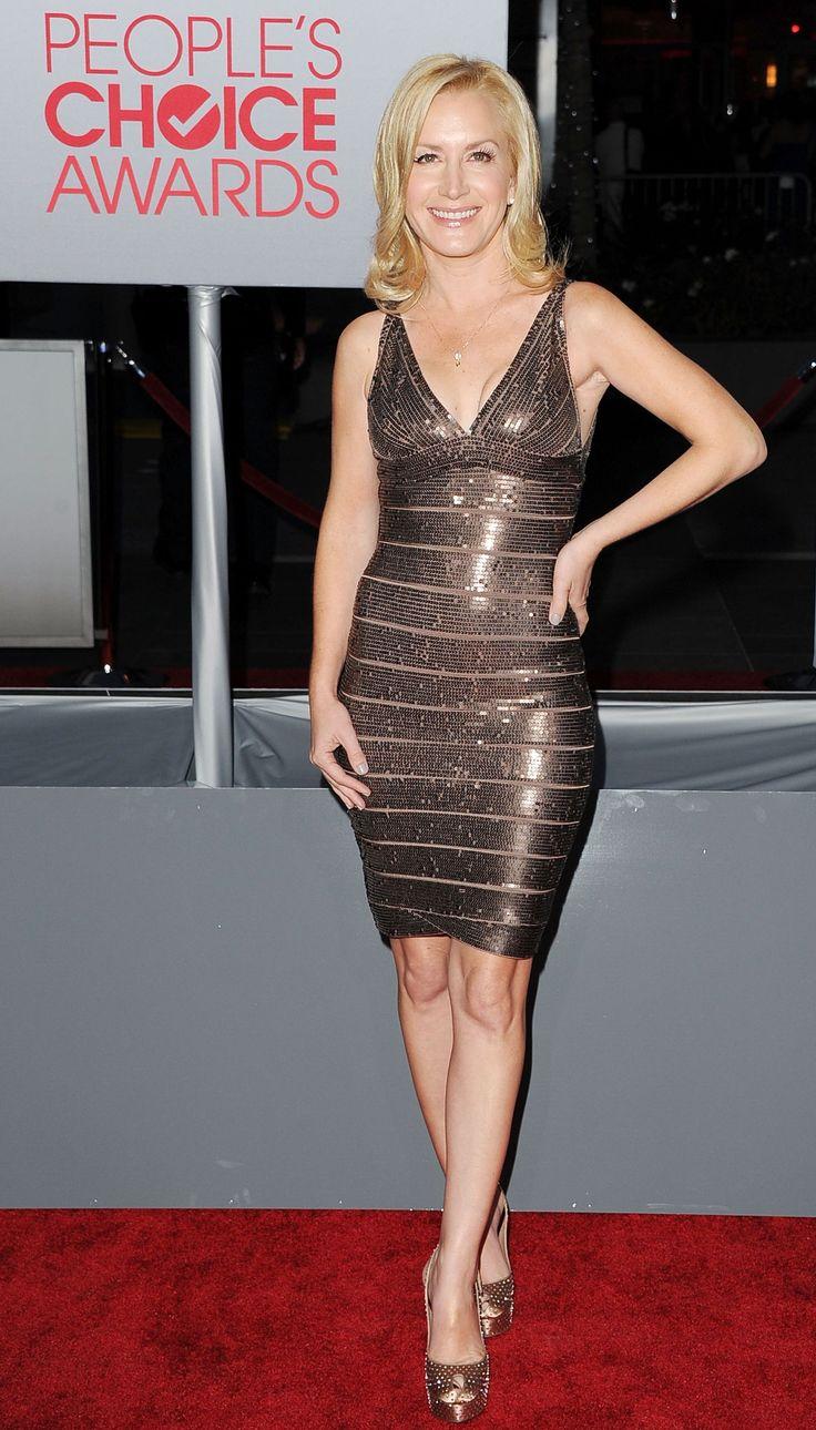 Angela Kinsey wearing a metallic Herve Leger Dress