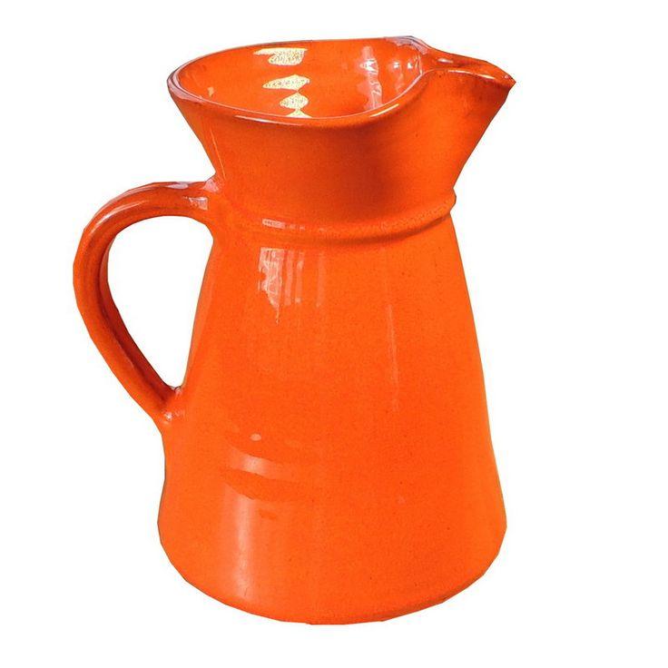 Orange keramik karaff, handgjord i Spanien t.ex. vin, vatten eller saft