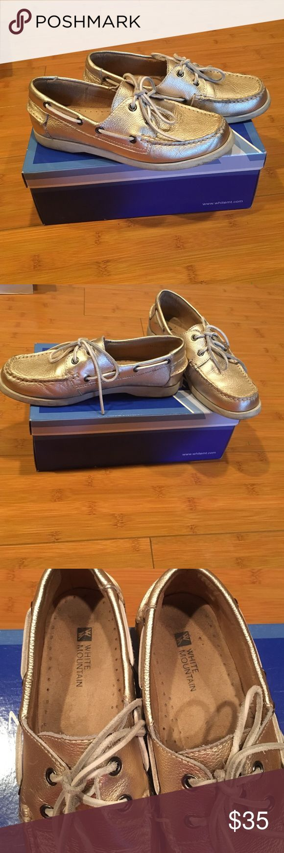 White mountain metallic boat shoes These shoes are in good condition White Mountaineering Shoes Flats & Loafers