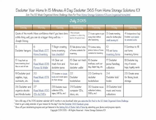Want to get your home decluttered? Grab your free copy of the printable July 2015 declutter calendar with daily 15 minute missions {courtesy of Home Storage Solutions 101}