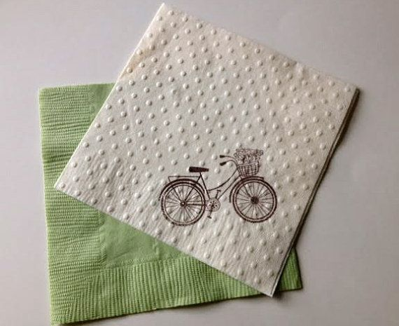 Bicycle Cocktail Napkins Embossed with Polka by SelfishNecessities
