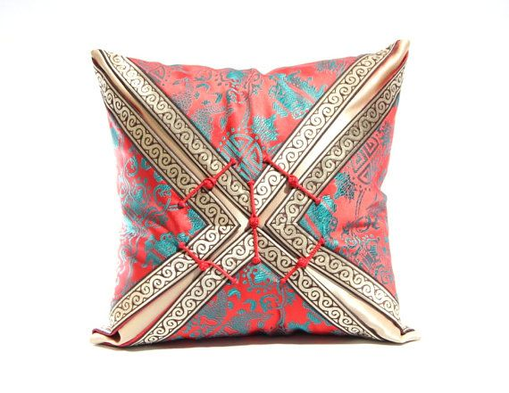 Ethnic pillows, Cushion cover, Mongolian pillow cover, Red satin pillow case, Traditional pillow cover