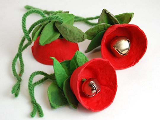 Jingle bell flower ornaments for kids to make.
