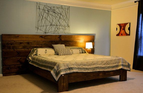 Custom Rustic Platform Bed or Headboard by YoureUnique on Etsy