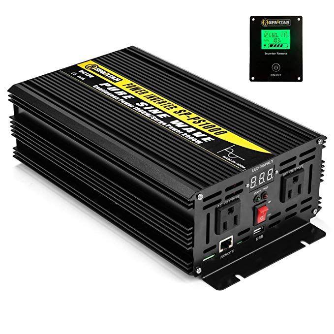 1000 Watt Pure Sine Wave Power Inverter By Spartan Power Sp Ps1000 12v To 120v Ac Power Inverters Sine Wave Power