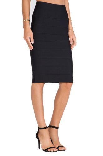 BCBG-MAXAZRIA-Fashion-Women-039-s-Sexy-Curve-Leger-Pencil-High-Waist-Skirt-Black